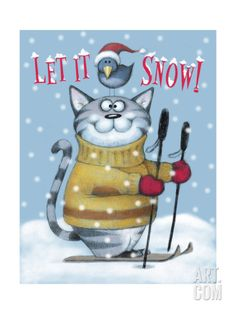 Cat Ski Giclee Print by Margaret Wilson at Art.com