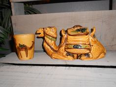 Rare! Vintage CAMEL Tea SET: Teapot Pitcher with Luggage Lid & Cup - Made In Japan by BlindiView on Etsy