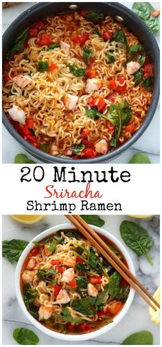 Sriracha Shrimp Ramen Soup _ It's fast, flavorful, moderately healthy, & fantastically filling. Each slurpy bite warming both belly & soul. (Insert blissful sigh here! Seafood Recipes, Soup Recipes, Cooking Recipes, Top Ramen Recipes, Noodle Recipes, Recipies, Asian Recipes, Healthy Recipes, Sriracha Recipes