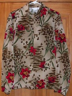 Stylish SUSAN GRAVER Sz L Zip Front Floral Jacket w/ Stand Up Collar Made in USA