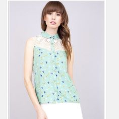 Free Bird Top Bird print blouse with lace insert.  Lowest prices are listed upfront. Tops