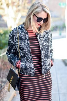 @laceperspective mixes patterns for dramatic effect with an H&M striped dress & black quilted pilot jacket. | H&M OOTD