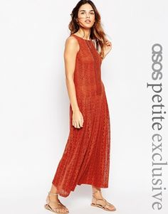 e17b3270b83 ASOS PETITE Maxi Dress in Lace Plissierter Rock