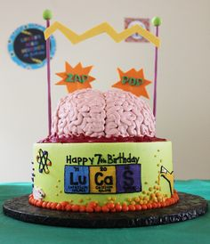 Incredible cake at a Mad Scientist boy birthday party!  See more party ideas at CatchMyParty.com!