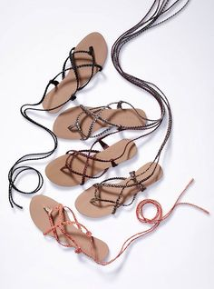 Braided Ankle-wrap Sandal - Colin Stuart® Great for Greek or Roman costumes Shoes Flats Sandals, Ankle Wrap Sandals, Cute Sandals, Ankle Strap, Pink Summer, Summer Time, Summer Feet, Colin Stuart, Camp Wedding