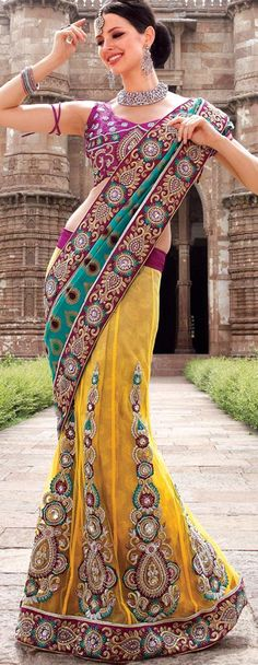 $159.96 Gold Brocade and Faux Georgette Lehenga Saree 18347 With Unstitched Blouse