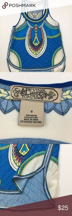 "Flying Tomato Blue Graphic Tank Top Super cute Boho Top in EUC! Barely worn and soooo cute. Has a really flattering flowy cut. 💥 also have this tank in a medium in my closet as well! 💥 Ask any questions 💕 approx measurements: 17.5"" bust, 24"" long in front, 28"" long in back. Flying Tomato Tops Tank Tops"