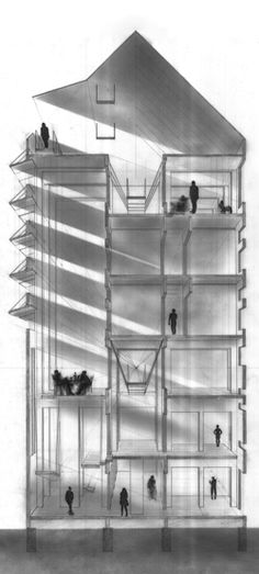 Section Drawing - Matthew Trendota, Architecture, University of Manitoba. The drawing is reduced to light, shadow and people!