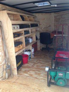Cargo trailer DIY shelves and small desk. Work Trailer, Cargo Trailer Camper, Trailer Diy, Trailer Build, Cargo Trailers, Utility Trailer, Trailer Shelving, Trailer Storage, Tool Storage