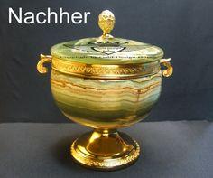 Tier Urne, Aufgarbeitet und Metallteile in 24 Karat vergoldet