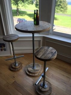 Industrial-Style-Poseur-Table-Bar-Reclaimed-Scaffold-Board-and-Galvanised-Steel