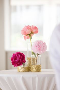 gold glitter vases with pink peonies | Meaghan Elliot #wedding