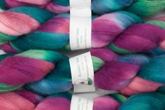 Handpainted Merino Wool and Tussah Silk Roving in Calypso II by Blarney Yarn on Etsy