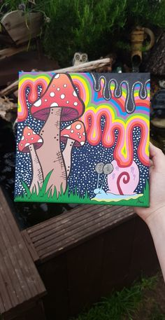 Simple Canvas Paintings, Easy Canvas Art, Small Canvas Art, Mini Canvas Art, Cute Paintings, Hippie Painting, Trippy Painting, Psychedelic Drawings, Hippie Art