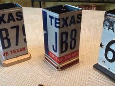 My wife and I got the idea for these pen/pencil holders while waiting at the tax office for new license plates. They used 2 plates folded in half to form a countertop waste container. I typically try to get plates that were used in the year someon. License Plate Crafts, Cool License Plates, License Plate Art, Licence Plates, Bambi, Pots, Pot A Crayon, Waste Container, Do It Yourself Projects