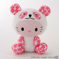 Cheri Panda × Hello Kitty collaboration Stuffed toy sanrio Official Kawaii Pink