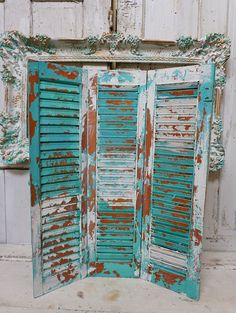 Wooden painted shutters beachy aqua blue wood 3 panel shutter shabby cottage chic distressed wedding or home decor anita spero design