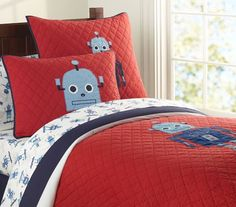 If you have a young boy who is a sci-fi fan, then chances are he loves his robots. The Robot Quilted Bedding, can be purchased from Pottery Barn Kids Pottery Barn Quilts, Pottery Barn Kids, Robot Bedroom, Lego Room, Baby Bedding Sets, Boy Quilts, Baby Furniture, Quilt Bedding, Kids Decor