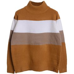 Choies Khaki Color Block Long Sleeve Sweater (21.985 CLP) ❤ liked on Polyvore featuring tops, sweaters, multi, block sweater, brown sweater, color block sweater, block tops and brown tops