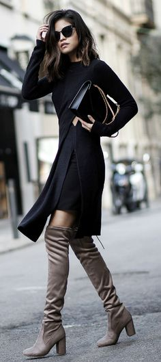 Adriana Gastélum + winter vision + dark + sophisticated outfit + longline slitted top + black underskirt + pair of sexy over the knee suede boots + pair of shades + style Dress:Topshop, Boots: Chinese Laundry, Bag: Saint Laurent.