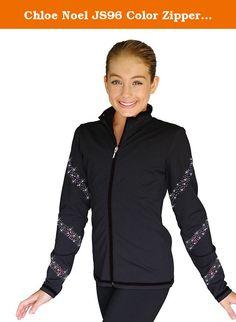 Chloe Noel JS96 Color Zipper Skate Jacket with Crystals Spiral (Black/AB Crystals, Child Large). 87% Supplex, 13% Lycra.