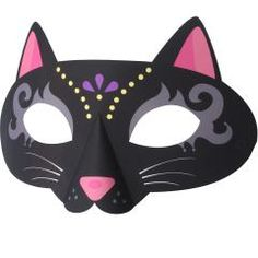 Print off this black cat mask for Halloween fun! Origami Halloween Decorations, Halloween Paper Crafts, Halloween Masks, Paper Decorations, Diy Halloween, Mascaras Halloween, Paper Mask, Cat Mask, Templates Printable Free