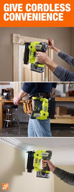 Give Dad cordless convenience this Father's Day, and an awesome new tool too. This Ryobi 18V ONE+ AirStrike 18-Gauge Cordless Brad Nailer offers superior performance. Click to learn more about this Ryobi Cordless Nailer, only available at The Home Depot.