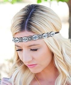Look at this Black Glass Stone Headband on #zulily today!