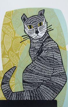 Black Cat - linocut print - Fiona Humphrey