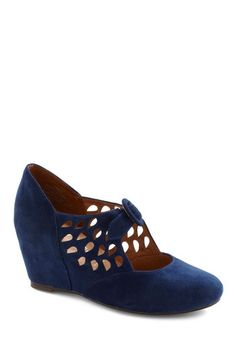 Droplet It Be Wedge by Jeffrey Campbell - Wedge, Blue, Cutout, Mid, Holiday Party, Folk Art