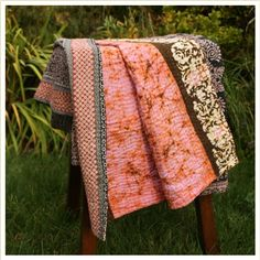 Feature of the Week: Sari Blanket -  The Enigma 100% Cotton and #Handmade in #India! Beautiful pinks, browns and navy colors.  https://soulstem.com/shop/sari-throw-blankets/enigma/
