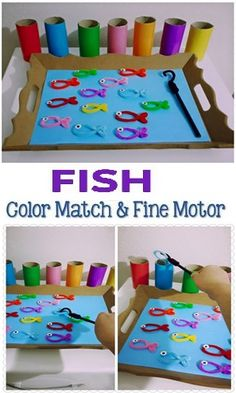 Fish Activities for Kids; Fish Fine Motor and Color Matching Fish Activities for Kids; Fish Fine Motor and Color Matching,(ruhige) Beschäftigung Related Amazing Contact Paper Activities - HAPPY TODDLER PLAYTIME - Preschool activitiesUse. Toddler Fine Motor Activities, Fish Activities, Motor Skills Activities, Montessori Activities, Gross Motor Skills, Kindergarten Activities, Fine Motor Activity, Learning Activities For Toddlers, Toddler Color Learning