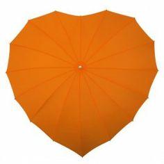 Orange Heart Shaped Umbrella