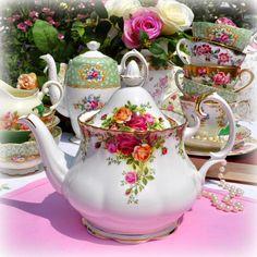 English vintage china teapots, creamers and sugar bowls