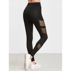 SheIn(sheinside) Black Fishnet Insert Leggings ($13) ❤ liked on Polyvore featuring pants, leggings, fishnet pants, stretchy leggings, stretch trousers, fishnet leggings and stretchy pants
