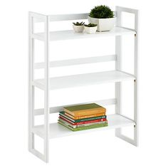 White Solid Oak Stackable Folding Bookshelf/the container store Shop Shelving, Modular Shelving, Storage Shelves, Storage Spaces, Lego Shelves, Narrow Bookshelf, Floating Bookshelves, Free Standing Shelves, L Office