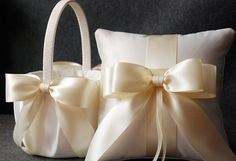 Wedding Ring Pillow and Flower Girl Basket Set - Off White Bridal Satin with Satin Bows - Audrey on Etsy, $90.00