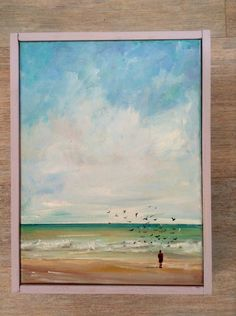 The ebb of the tide....To the salt edged air.. original seaside beach painting, with a flock of seagulls - in oils by Sarah Gill. $58.00, via Etsy.