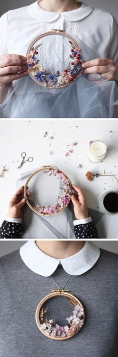 Floral wreath weaves by Olga Prinku | hoop art | diy hoop art | flower frames