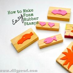 """Rubber-stamps made from """"foamies"""" cutouts glued onto wood blocks"""