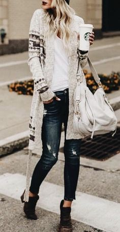 Long cardigan, ripped jeans and coffee.  Perfection.