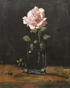 """art-and-things-of-beauty: """" Yiannis Tsarouchis (Greek, - Rose in a glass, oil on canvas, x 30 cm. Rose In A Glass, Still Life Flowers, Art Of Man, Greek Art, Impressionist, Art Sketches, Flower Art, Oil On Canvas, Art Pieces"""