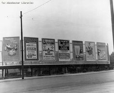 Chorlton-cum-Hardy, Wilbraham Road north side, Chorlton Station - new hoardings, erected June 1960 By A. Old Photographs, Black N White, Manchester, 1960s, Photo Wall, Art Deco, History, World, Frame