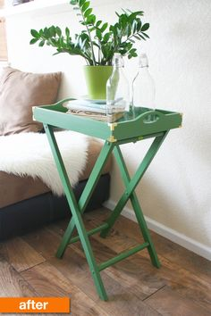 Before & After: A TV Tray Gets a Fresh New Life for Only $21 | Apartment Therapy -- Maybe do this to my bar?