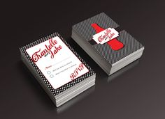 Retro coke themed wedding stationery. These were the save the date cards. The coke theme font was used for the names.