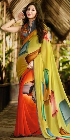 Sizzling Yellow And Multi-Color Georgette Saree.