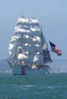 Coast Guard's Eagle under full sail.