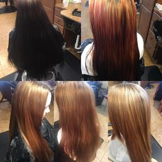 The process of going blonde from jet black! Crazy!