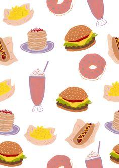 american diner food / cheeseburger, fries, hot dog, milkshake, pancakes, donut / gouache painted pattern