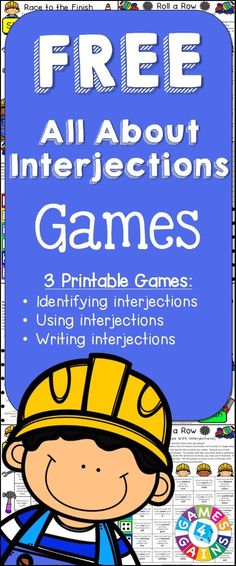 Looking for fun ways to practice interjections? This FREE Interjections Games packet contains 3 fun and engaging printable board games to help students to practice identifying and using interjections.